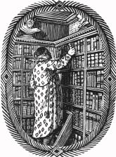 wood-engraving original print: A Gentleman's Library for The London Bookbinders